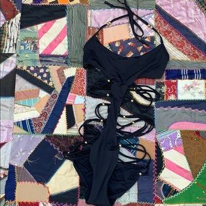 Designer Mara Hoffman Strappy Beaded Bathing Suit